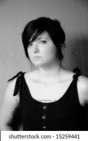 high contrast black and white female portrait