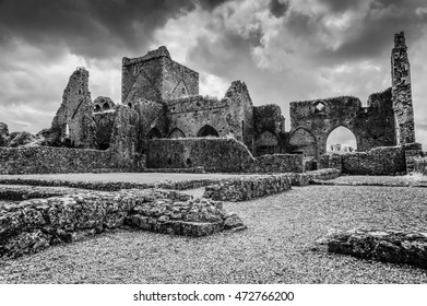 High contrast black and white image of the ruins of Hore Abbey, Cashel, County Tipperary, Ireland