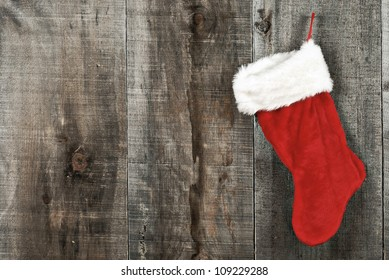 High contrast grunge Christmas sock on wood