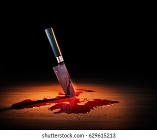 High contrast image of bloody crime scene with a knife on the floor