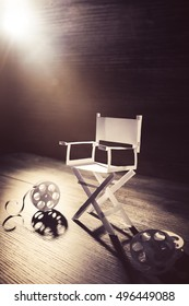 High contrast image of director chair made of paper