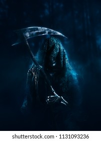 High contrast image of the grim reaper in the woods with a scythe