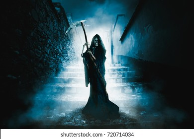 High contrast image of the grim reaper in a ghost town with a scythe