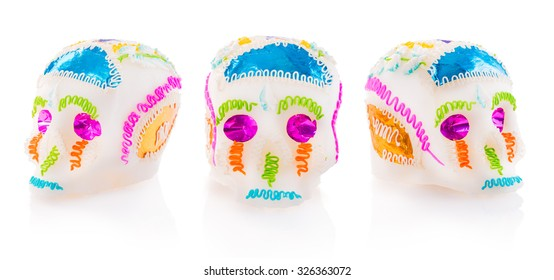 "High contrast image of sugar skulls used for ""dia de los muertos"" celebration isolated on white"