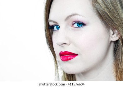 High contrast portrait of beautiful young woman