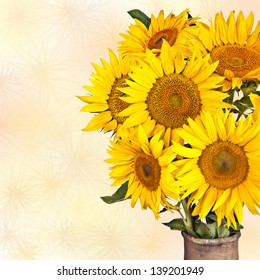 High contrast, vintage image of a rustic vase with beautiful yellow sunflowers flowers isolated on white