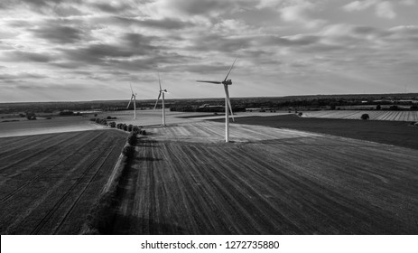 High Contrast Wind Farm in Black and White