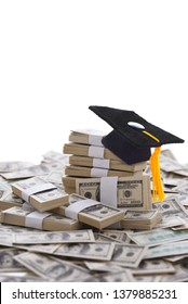 The High cost of higher education concept, mortarboard on Money, and the College Admissions Bribery Scandal.