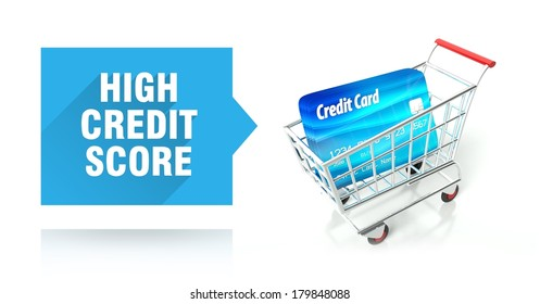 High credit score concept with shopping cart