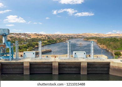 The High Dam in Aswan for hydroelectric power generation, Nubia, Egypt.