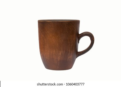 high dark brown cup. Isolated on white background. close-up . side view.