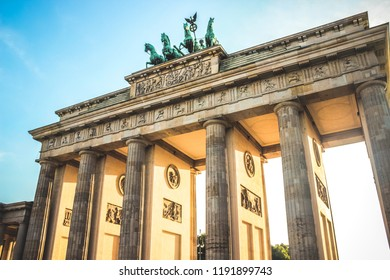 A high definition photograph of the Brandenburg Gate in Berlin, Germany. An 18th Century neoclassical monument built on the orders King Frederick William.