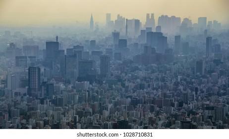 high density urban sprawl cityscape
