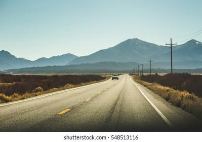 High desert Rocky Mountain highway. Southern Idaho, USA.