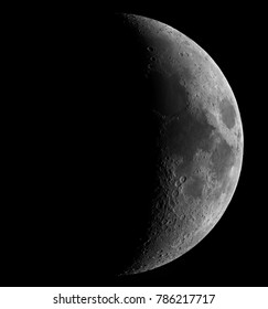 A high detail multi-panel composite of the waxing crescent Moon taken with a professional 2000mm focal length telescope. Visible craters down to 2km diameter.