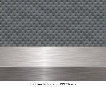 High detail of a stainless steel bench with a soft texture background.
