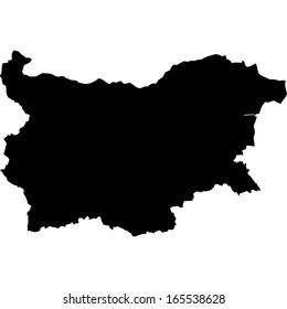 High detailed black illustration map - Bulgaria