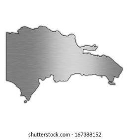 High detailed illustration aluminum map - Dominican Republic