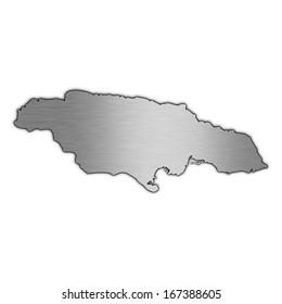 High detailed illustration aluminum map - Jamaica