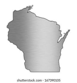 High detailed illustration aluminum map - Wisconsin