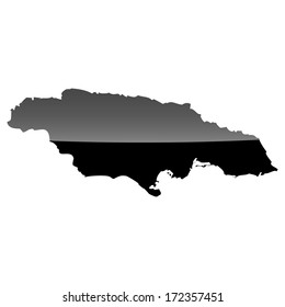 High detailed illustration map with piano effect - Jamaica