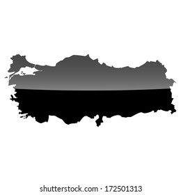 High detailed illustration map with piano effect - Turkey