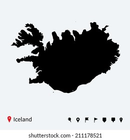 High detailed map of Iceland with navigation pins.