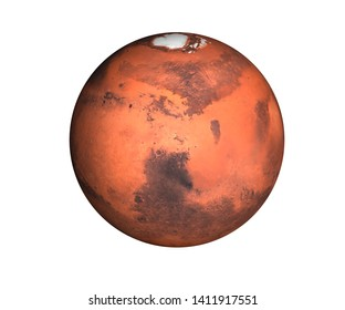 High detailed Planet Mars of solar system render isolated on white background. Elements of this image furnished by NASA.