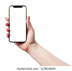 High detailed Realistic iPhone XS smartphone in woman hand.