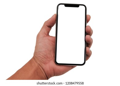 High detailed Realistic smartphone in man hand, smartphone similar to iphone xs max with blank white screen from Apple generation 10 , mockup model similar to iPhonex isolated on Background of digital