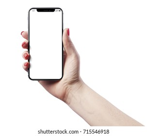 High detailed Realistic smartphone in woman hand.
