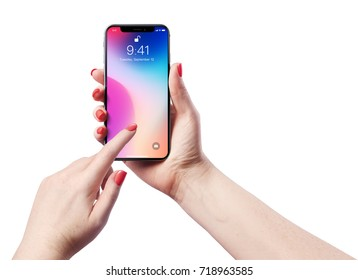 High detailed Realistic smartphone in woman hand. Vector illustration.