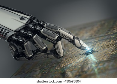 High detailed robotic hand touching digital circuit board with index finger. Bionic technology in virtual world. 3d rendered image