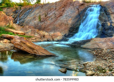 High dynamic image of Ghatsila falls flowing into Subarnarekha river in Ghatsila, Jharkhand, India