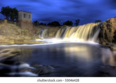 High Dynamic Ramge (HDR) image of waterfall at Sioux Falls, South Dakota
