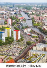 High dynamic range HDR Aeria view of the city of Berlin in Germany