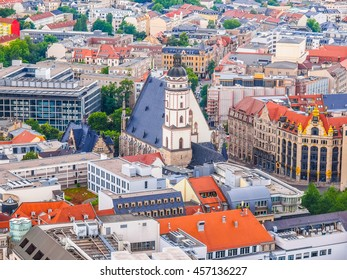 High dynamic range HDR Aerial view of the city of Leipzig in Germany with the Thomaskirche church