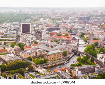 High dynamic range HDR Aerial bird eye view of the city of Berlin Germany