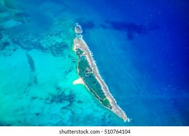 High dynamic range (HDR) Aerial view of Bahamas islands, USA