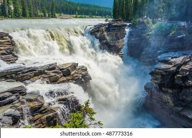 High dynamic range (HDR) Athabasca Falls in Jasper National Park in Alberta Canada