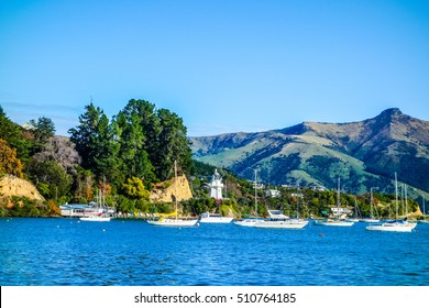 High dynamic range (HDR) Bay and harbour in Akaroa, New Zealand