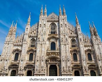 High dynamic range HDR Duomo di Milano gothic cathedral church, Milan, Italy