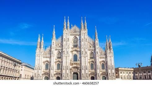 High dynamic range HDR Duomo di Milano gothic cathedral church in Milan, Italy