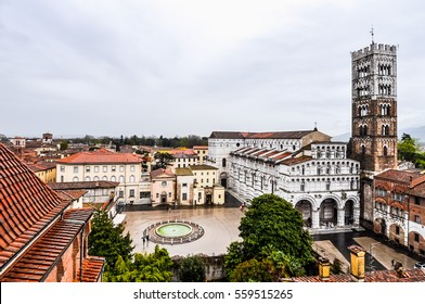 High dynamic range (HDR) Duomo di Lucca meaning Lucca Cathedral in Tuscany, Italy