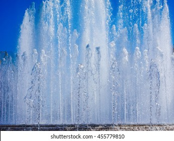 High dynamic range HDR Fountain in front of Castello Sforzesco in Milan