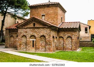 High dynamic range (HDR) Galla Placidia mausoleum and St Vitale church, Ravenna, Italy