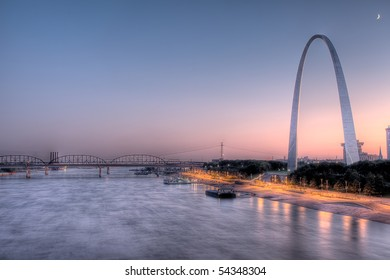 High Dynamic Range (HDR) image of St. Louis Arch and Mississippi River at dusk