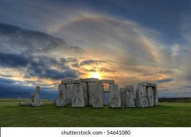 High dynamic range (HDR) image of Stonehenge  at sunset with beautiful solar sunset halo - an optical phenomenon that appears  around the Sun caused by ice crystals  in the upper troposphere.