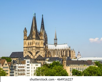 High dynamic range HDR Koeln (Germany) panorama including the gothic cathedral and river Rhine