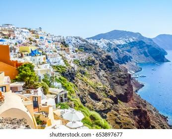 High dynamic range (HDR) Oia Ia Apano Pano Meria in Santorini islands in Greece